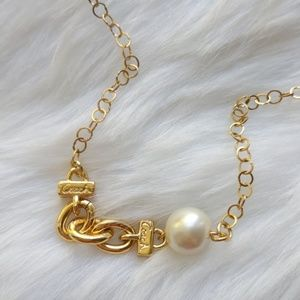 Coach Link Chain Pearl Gold Plated Necklace New